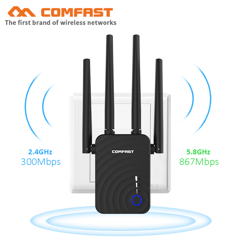 Comfast CF-WR754AC Wifi Repeater 5Ghz Long Wi fi Range Extender Booster 1200Mbps Home Wireless N Router 4*2dbi Antenna Amplifier(China)