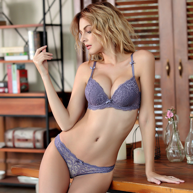 Femal Intimates Lace Sexy Lingerie   Set   Gathering Adjustable Underwear Women Lace Push Up   Bra     Set   ABC Cup Padded   Bra   And Panty