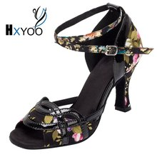 XHYOO 2017 New Arrived Women Salsa Shoes Satin Soft Sole Flower With Black Ballroom Dance Shoes Latin High Heel Peep Toe WK004