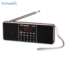 Ouhaobin Портативный мини стерео ЖК-дисплей цифровой fm Радио Динамик USB Перезаряжаемые Батарея стерео аудио Динамик MP3 музыкальный плеер