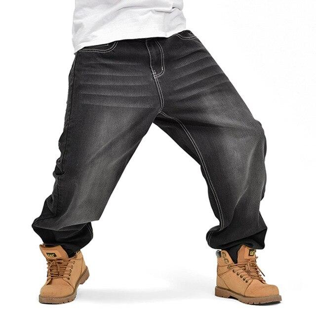 Style américain Marque Hommes Baggy Jeans Lâche Plus Grande Taille Jeans  Hommes Hip Hop Jeans Longue 8d5dd8401f8