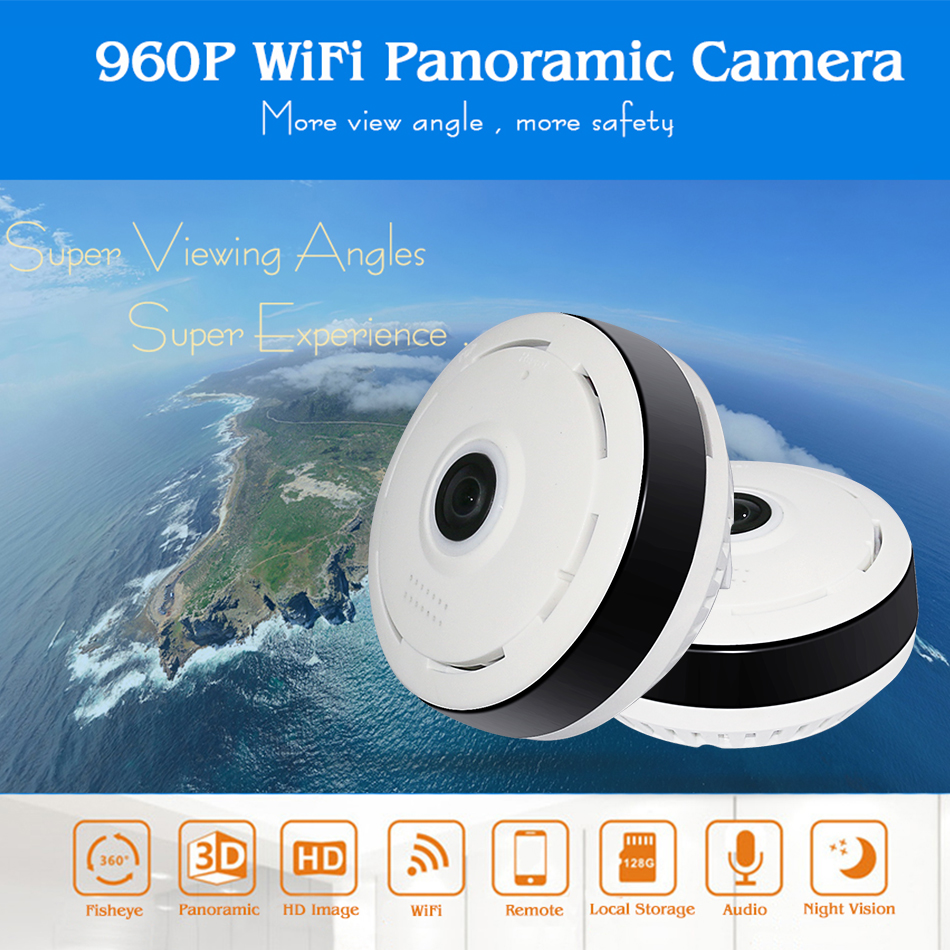HD FishEye IP camera 960P 360 degree Full View Mini CCTV Camera 1.3MP Network Home Security WiFi Camera Panoramic IR Hiseeu цена