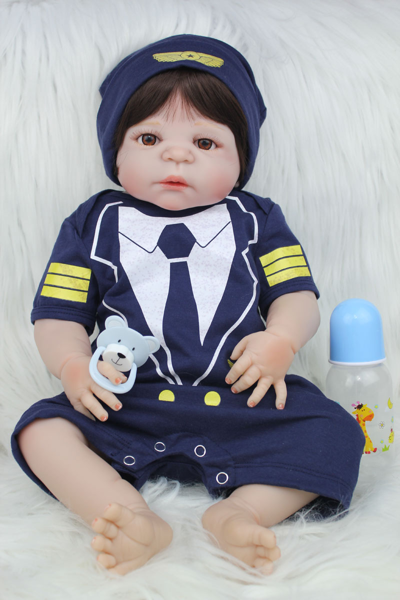 55cm Full Body Silicone Reborn Baby Doll Toy Like Real 22inch Newborn Bebe Boy Babies Doll Birthday Gift Present Child Bathe Toy full silicone body reborn baby doll toys lifelike 55cm newborn boy babies dolls for kids fashion birthday present bathe toy