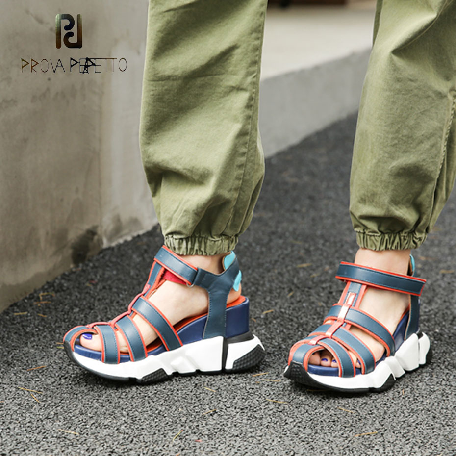 Prova Perfetto 2019 new mixed color genuine leather casual sandals women narrow band hollow wedge heels sneaker shoes summer-in High Heels from Shoes    1