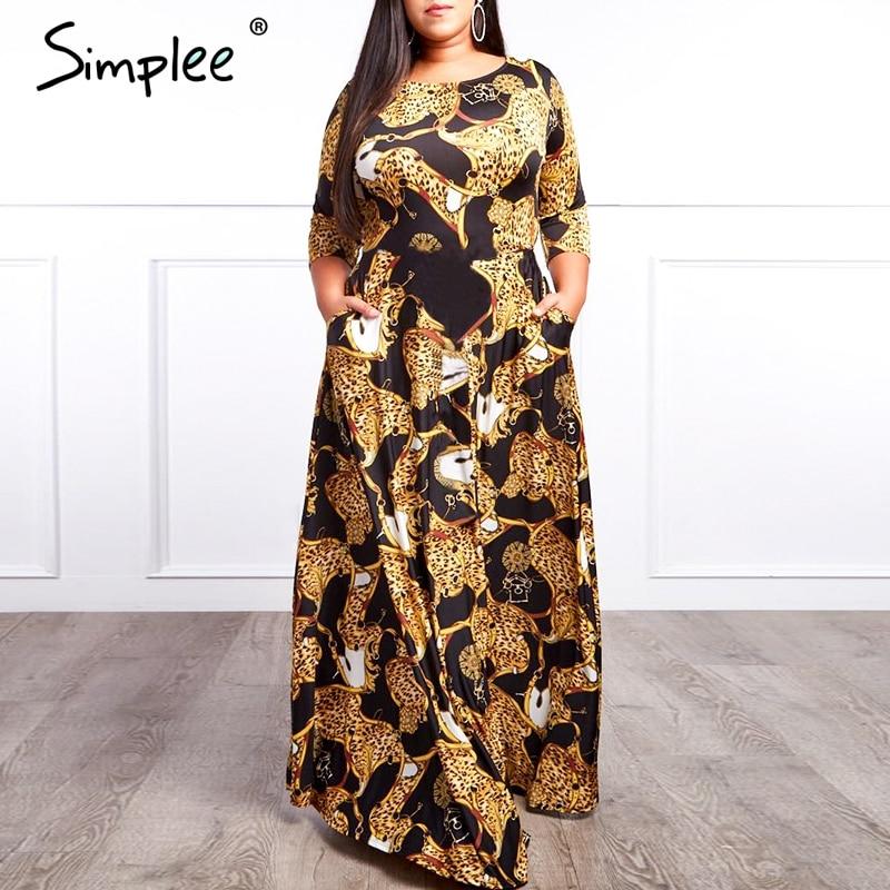 Просто, элегантно, с принтом цепи, длинное платье для женщин, для праздника, плюс размер, женское свободное этническое платье макси, весенне-...