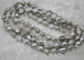 120cm  9-10mm Fresh water  Baroque gray pearl necklace free shipping