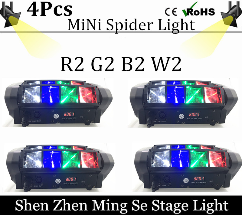 4pcs/lots Mini LED spider light R2 G2 B2 W2 moving head light beam DMX512 professional DJ equipment the spot scene r b parker s the devil wins