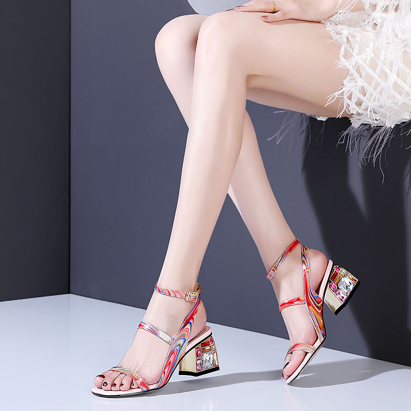 2019 spring sexy fish mouth hollow  sandals thick with a word with  high heels female summer Sexy female sandals2019 spring sexy fish mouth hollow  sandals thick with a word with  high heels female summer Sexy female sandals