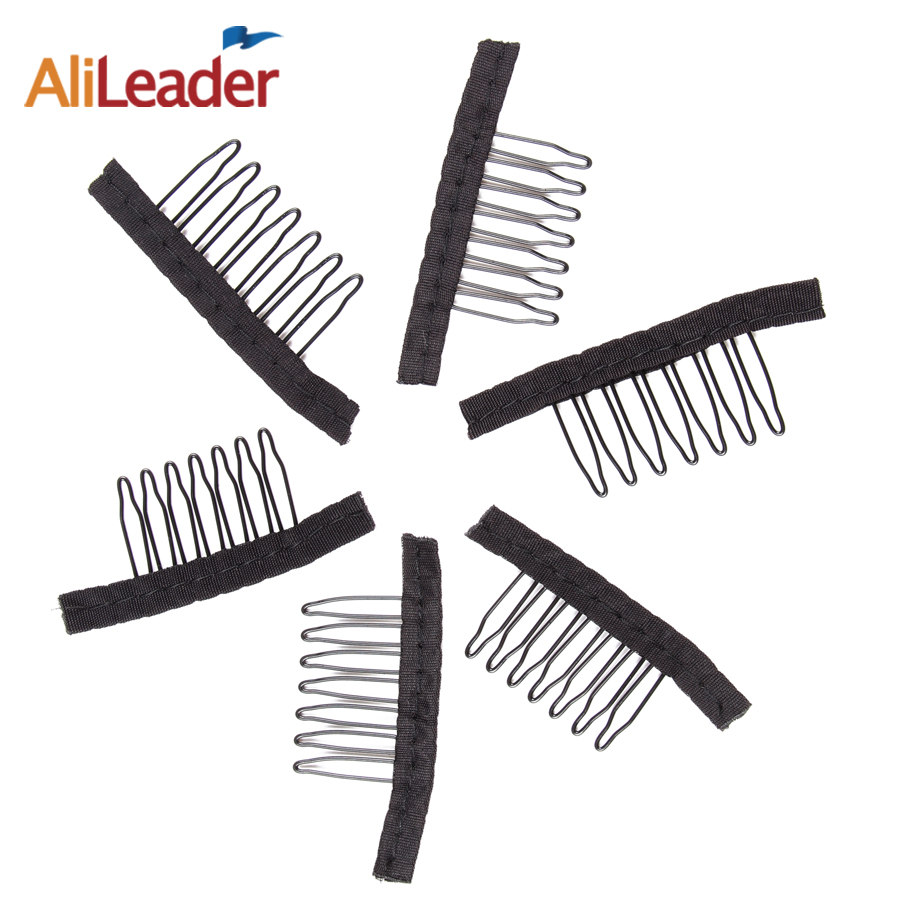 10Pcs/Lot 7 Teeth Wig Comb For Wig Caps Clips For Weave Stainless Steel Black Hair Combs For Wigs Alileader Best Supplier Made