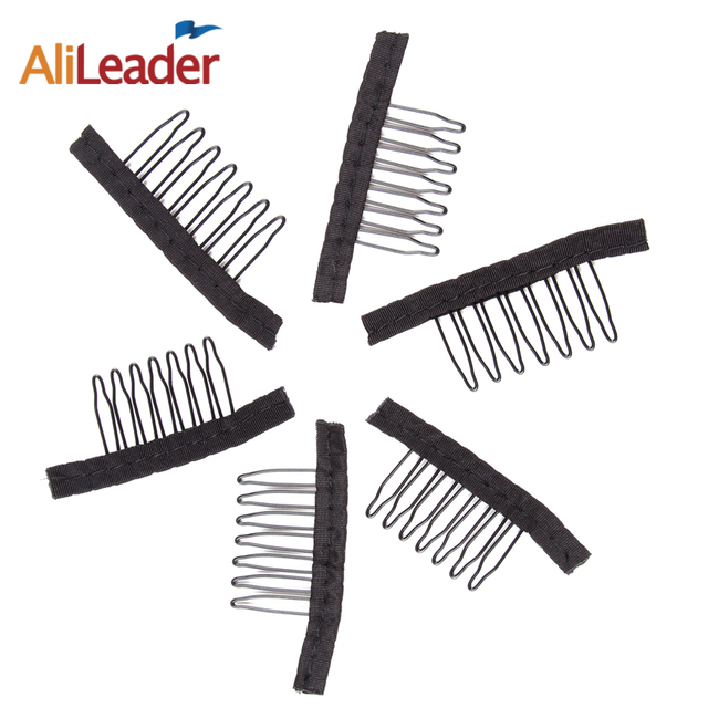 Alileader 12Pcs/Lot 7 Teeth Wig Comb For Wig Caps Clips For Weave Stainless Steel Black Hair Combs For Wigs Best Supplier Made