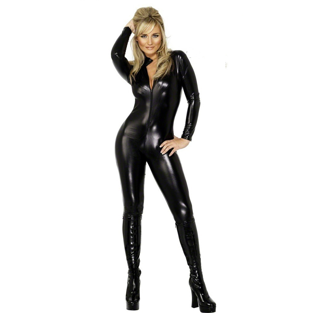 Hot Sexy Lady Black Leather Latex Catsuits with With Zipper Erotic Club Dress Sexy CatWomen Costume Sexy Bodysuit Jumpsuit