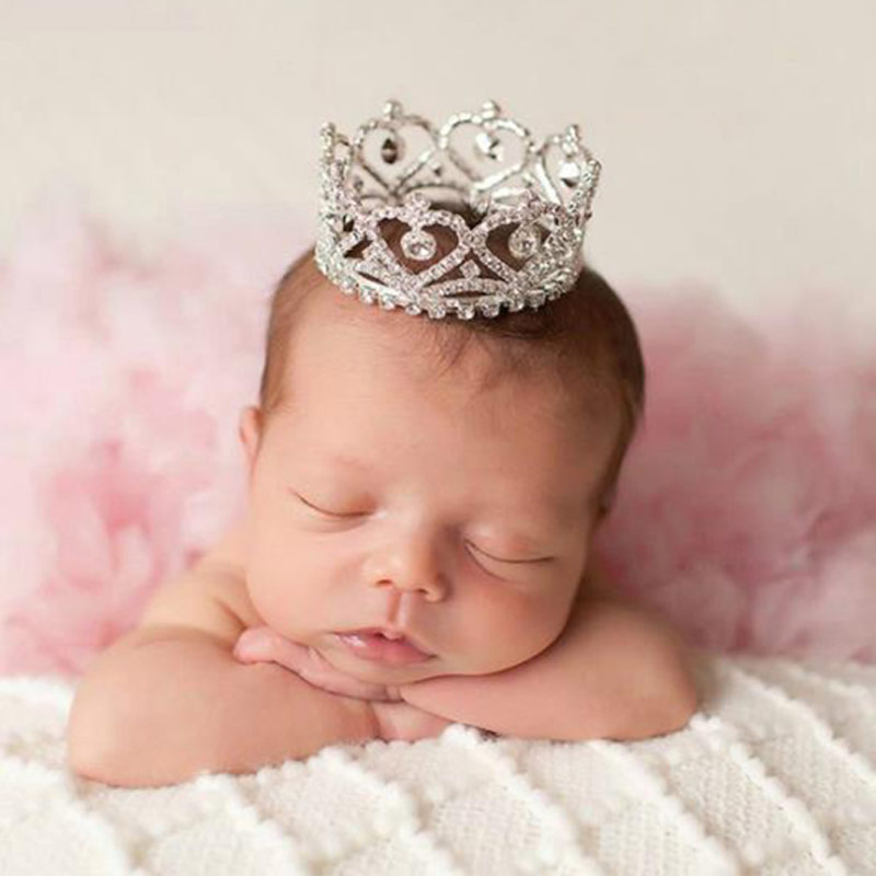 Newborn Girl Boy Photography  Props Goldeen Silvery Crown Baby Photo  Shooting Accessories Infant Girls Boys Fotografia Prop