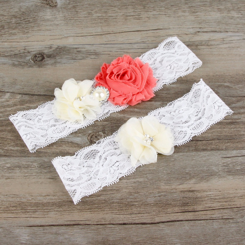 Bridal shower party supplies - Fashion 2pcs Set Wedding Bride Lace Leg Garter Handmade Ivory Flower Sexy Lace Garter Leg Ring Bridal Shower Party Supplies