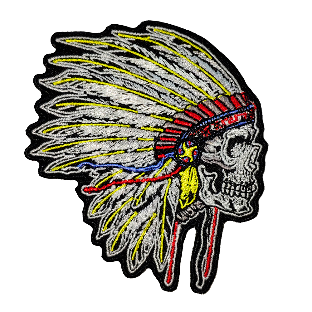 10 pcs classical primitive indian skull punk motorcycle biker stickers clothes club mc embroidered iron on patches for clothing in patches from home