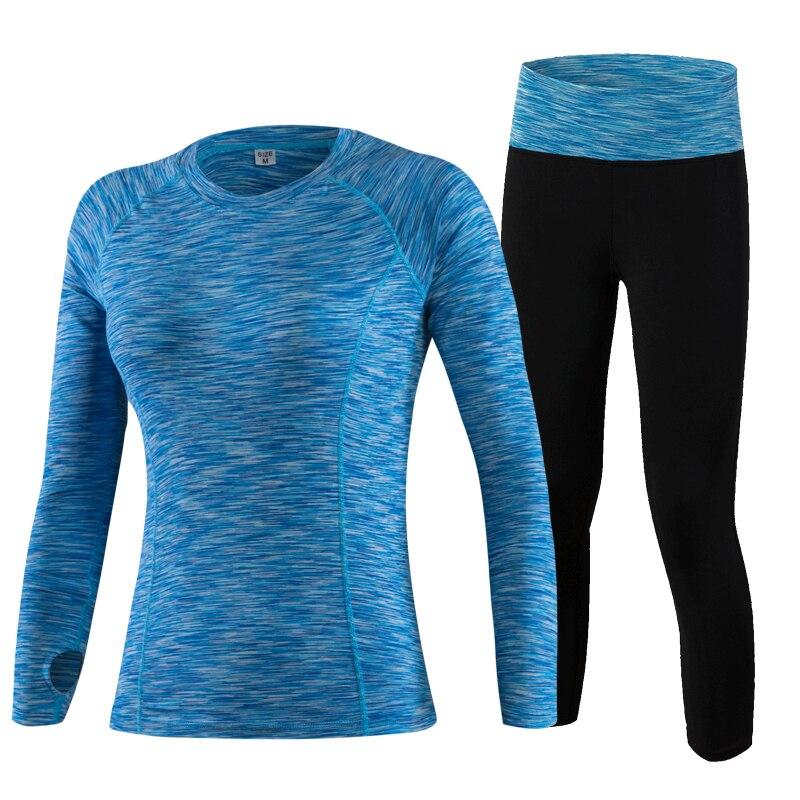 YD Hot 2Pcs Yoga Set Long Sleeve Leopard font b Women b font Sport Running Set