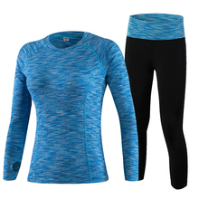 YD Hot 2Pcs Yoga Set Long Sleeve Leopard Women Sport Running Set Quick Dry Comperession Yoga Shirt And Slim Leggings