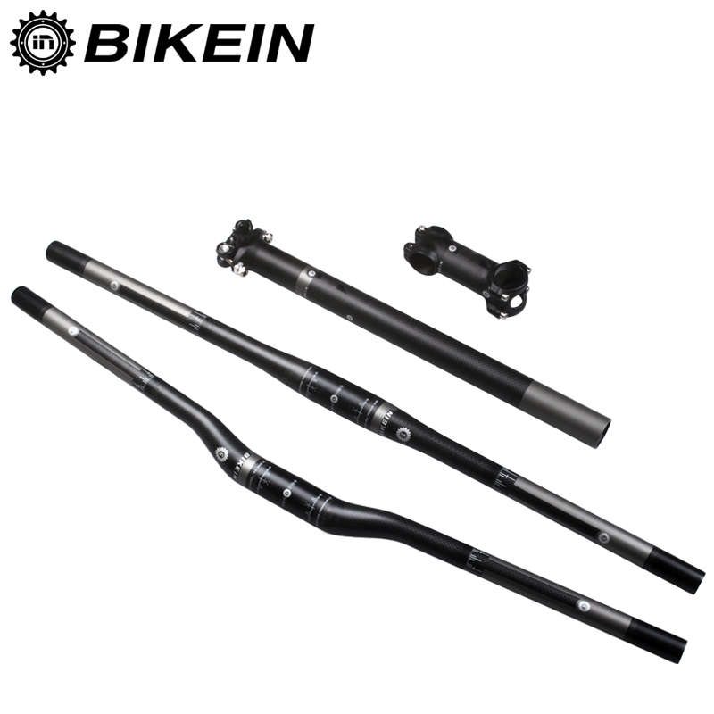 BIKEIN Mountain Bike Handlebar Sets 3k Carbon Fibre Bicycle Handlebars + Seatpost + Stem Cycling MTB Parts High Quality 515g cycling king c k 2015 mtb handlebar bicycle stem carbon seatpost tube flat or riser mountain bike bar top carbon super set
