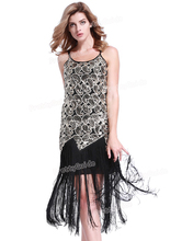 PrettyGuide  Women 1920s Sequin Paisley Sexy Tassels Hem Overlay Midi Flapper Party Dress Vintage Party Dress