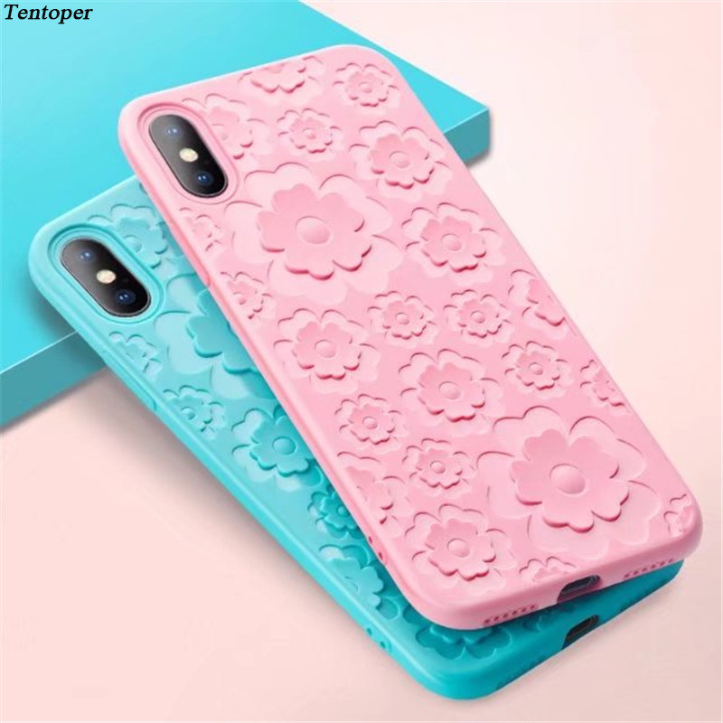 For Samsung Galaxy S9 S8 Case 3D Relief Silicone Plain Floral Soft Cover For Xiaomi Redmi 5 For iphone X 8 7 6 Plus Flower Coque