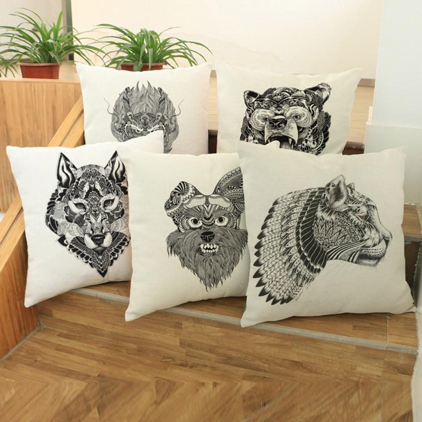 Hand Sketch Animal Print Pillow Cushion Cover Dragon Tiger Bear Decorative Pillows for Sofa Pillowcase Cover Woven Linen Fiber