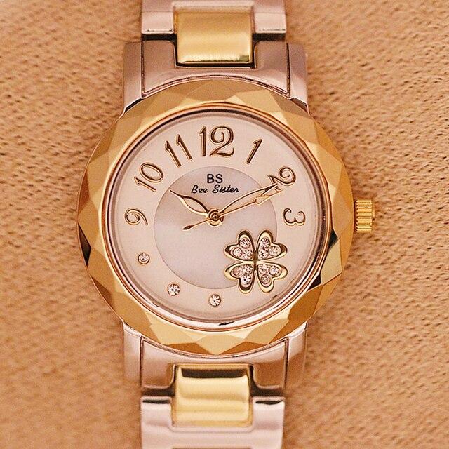 BS bee sister Brand Gold Women's Bracelet Watch 2018 New Luxury Stainless Steel