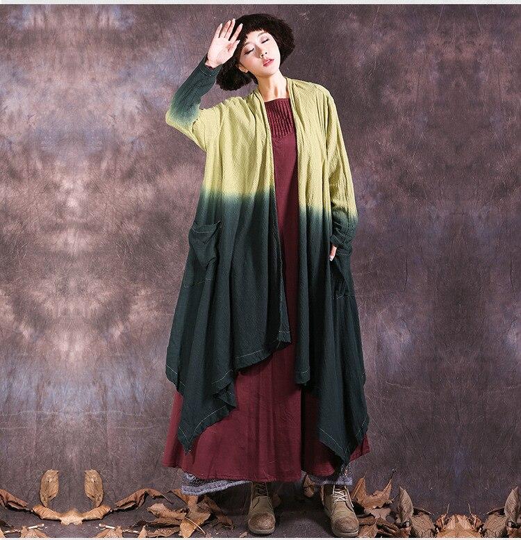 2018 Neue Ankunft Herbst Trenchcoat Für Frauen Mantel Lässig Gradienten Farbe Leinen Baumwolle Lange Strickjacke Damen Asymmetrische Oberbekleidung Senility VerzöGern