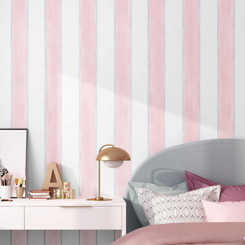Blue Pink White Striped Wallpaper For