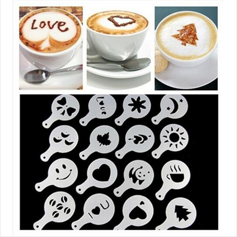 Multi Function 16pcs Cappuccino Latte Stencil Coffee Mold Decor Barista Duster Art Tool Decoration Cake