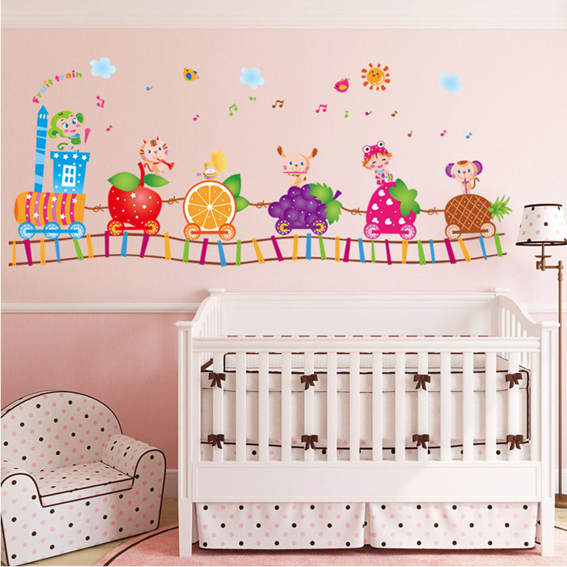 [Fundecor] Fruit Train Childrenu0027s Wall Stickers For Kids Rooms Boys Bedroom  Wall Decor Decals Diy Stickers On The Wall In Wall Stickers From Home U0026  Garden ...