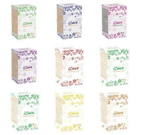 100pcs Icare Wholesale Reusable Medical Grade Silicone Menstrual Cup Feminine Hygiene Product Lady Menstruation Copo