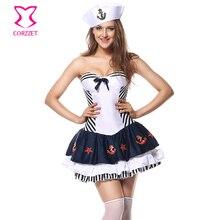 corzzet white satin corset fancy dress sexy sailor costume