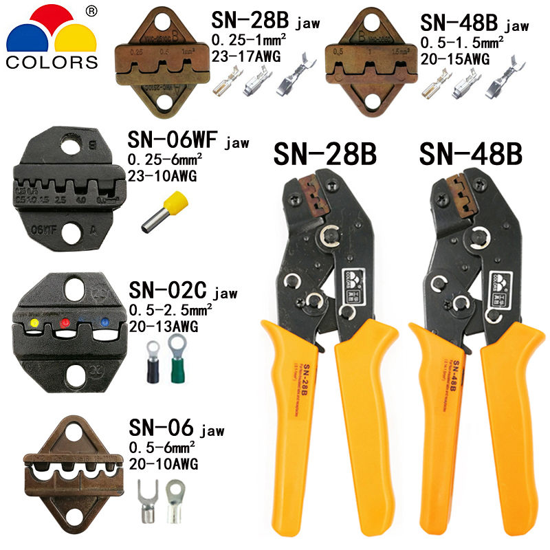 Crimping pliers SN-48B SN-28B 5 jaw for 2.8 4.8 C3 XH2.54 3.96 2510 tube non insuated terminals brand kit electric clamp tools