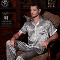2017 Новый Летний Мужчины Шелковые Пижамы С Коротким Рукавом Пижамы мужские Пижамы Наборы Брюки 100% Шелк Пижамы Набор Loungewear Одежды