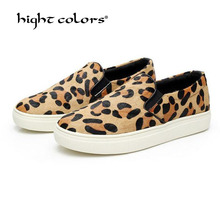 Brand 2016 New Women Winter Boots Horse Hair Leopard Camouflage Platform High Top Slip On Creepers Zapatos Shoe Free Shipping