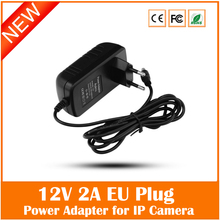 Eu Plug Ac 100v-240v 12v 2a Power Supply Adapter For Security Cctv Ip Camera Routers Hubs Led Strip 5.5*2.1mm Freeshipping(China (Mainland))