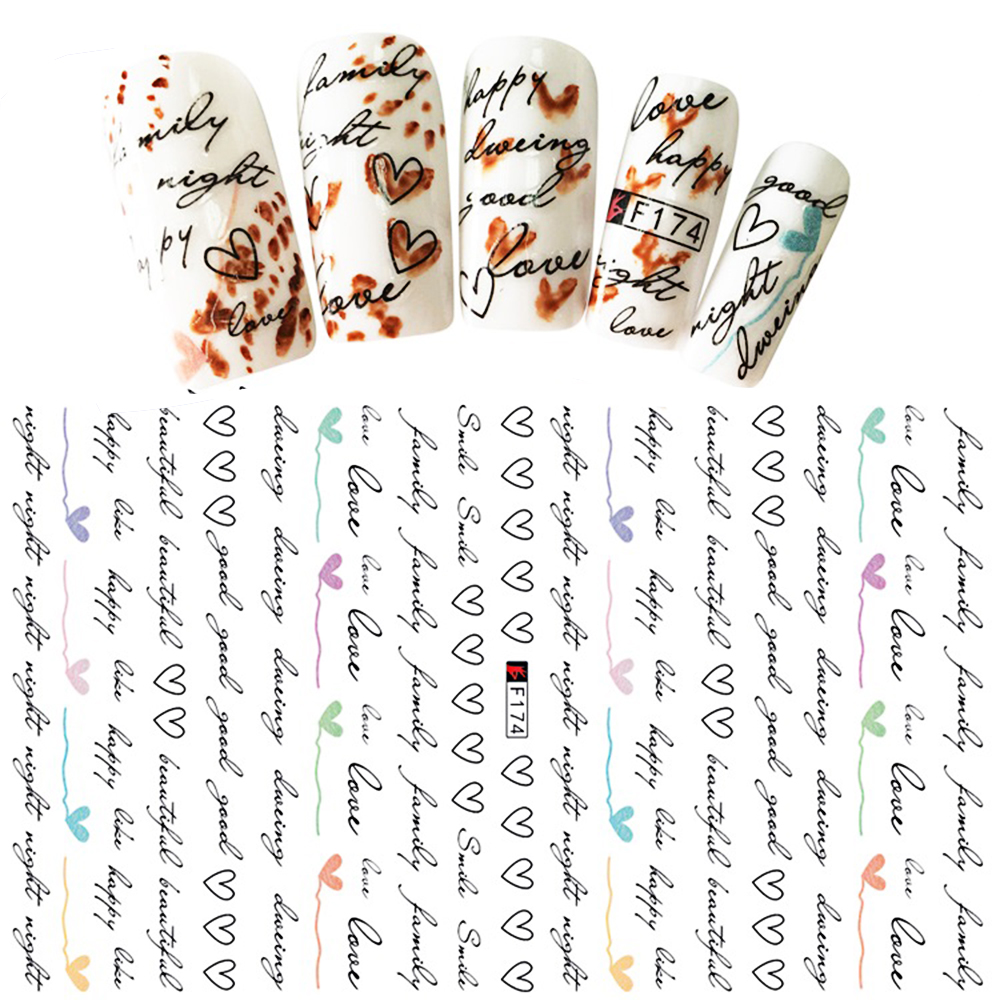 Hot 1 Sheet Heart Shape Letter Design 3D Decal Nail Slider Art DIY Decorations Sticker for Manicure DIY Adhesive Tips BEF174-in Stickers & Decals from Beauty & Health