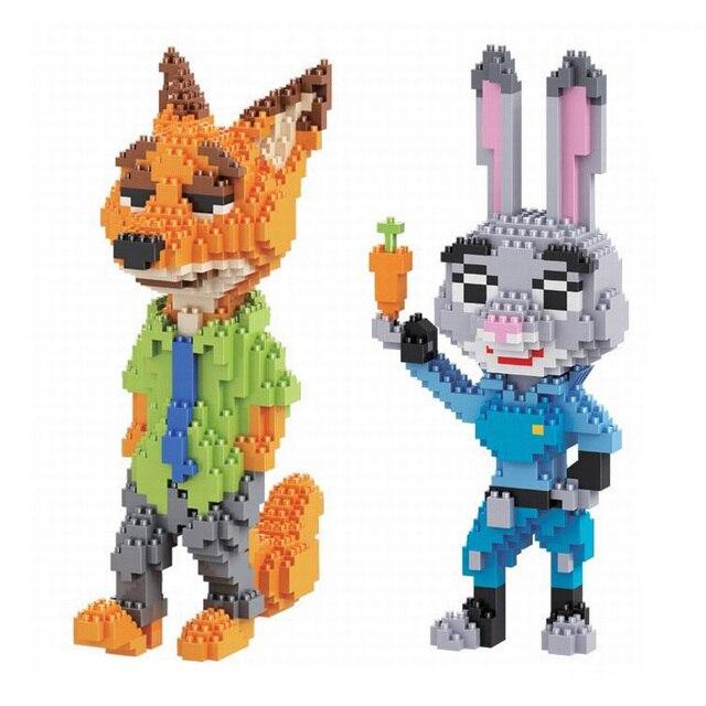 Model Building Kits DIY Assembly Blocks Cartoon Zootopia Judy Hopps Rabbit Nick Wilde Fox Model Enlighten Toy Gift