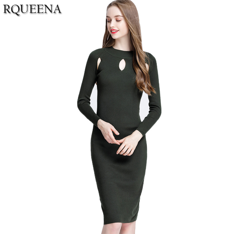 Rqueena High Quality Women Fashion Long Knitted Dresses Autumn Winter Long Sweater Dress Women Full Sleeve Hollow Dress Sexy