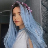 Fantasy Beauty Nature Color Dark Root Ombre Pastel Blue Heat Resistant Fiber Hair Long Nature Wave Light Blue Synthetic Full Wig