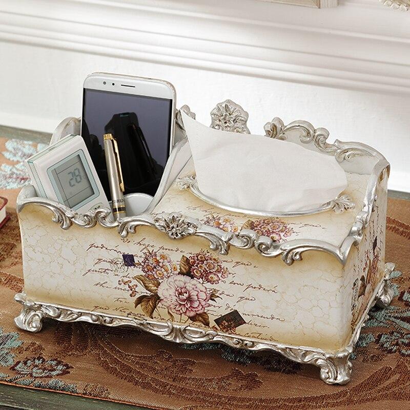 Европейская многофункциональная бумага коробка для полотенец, роскошная Роскошная гостиная, украшения для дома, смоляная салфеточница, бу