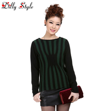 New Fashion Autumn Winter Cashmere Sweater Women O-Neck Long Sleeve Retro Striped Knitted Pullover Female Clothes-A916