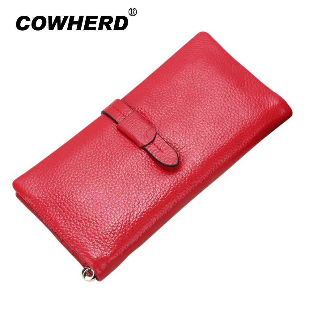 100% Pure Genuine Cow Leather Women Wallets Long Fashion Female Clutch Card Holder Lady Purse with string All Top Layer Cowskin