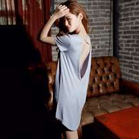 Sexy sleepwear nightgown female short sleeve racerback viscose thin solid color modal nightgown lounge