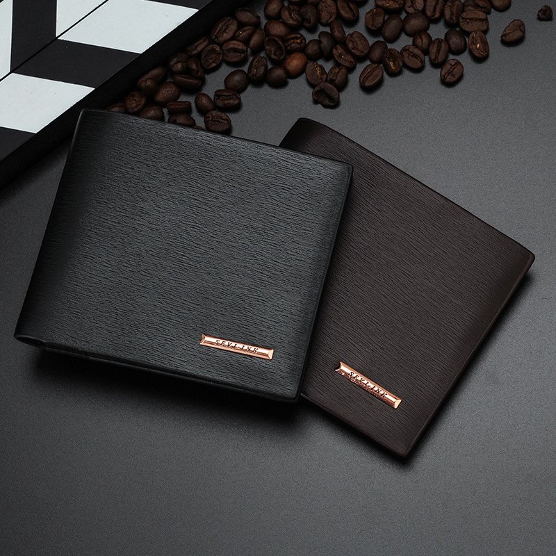 New Men's Wallets Quality Soft PU Leather 2 Folds Business Casual Short Black Brown Colors Photo Bit ID Card Holder Purse Wallet never leather badge holder business card holder neck lanyards for id cards waterproof antimagnetic card sets school supplies