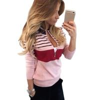 Fashion 2017 Autumn Winter Women Blouse Shirt Knitting V Neck Striped Sexy Pullover Long Sleeve Female
