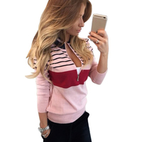 Fashion 2017 Autumn Winter Women Blouse Shirt Knitting V Neck Striped Sexy Pullover Long Sleeve Female