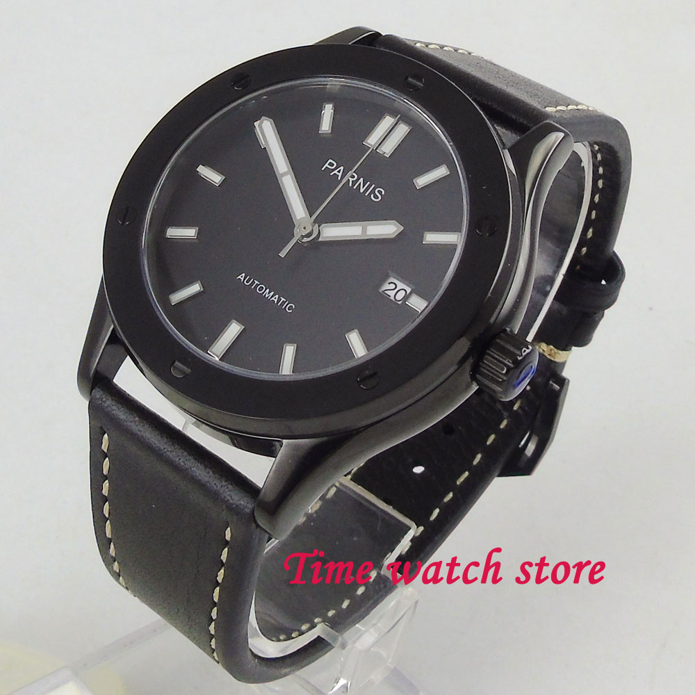 Parnis men's watch black dial 42mm PVD coated case 24 jewels Japan NH35A Automatic movement wrist watch men 1215 все цены