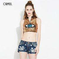 ORMELL Mode Sexy Vrouw Crop Tops T-Shirt 2017 Zomer Glitter Lovertjes Mouwloze Meisjes Tee Korte Vrouwelijke Club Kostuum Dragen