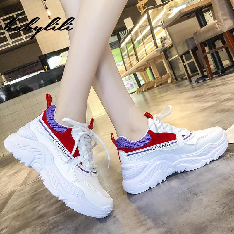 Weiße Turnschuhe für Frauen 2019 Sommer Mode Ladies Atmungsaktive Schuh Plattform Chunky Turnschuhe Frauen Vulkanisierte Schuh Weiße Turnschuhe