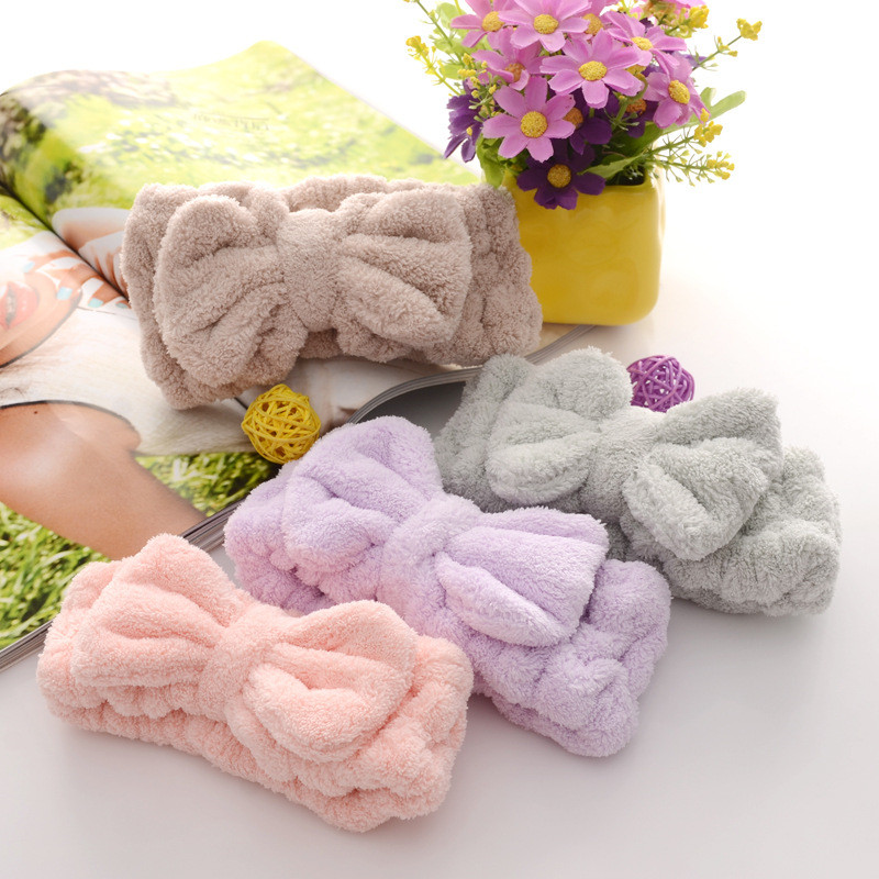 Cosmetic Headbands Makeup-Tools Washing-Face-Shower Bowknot Elastic Soft Flannel  title=